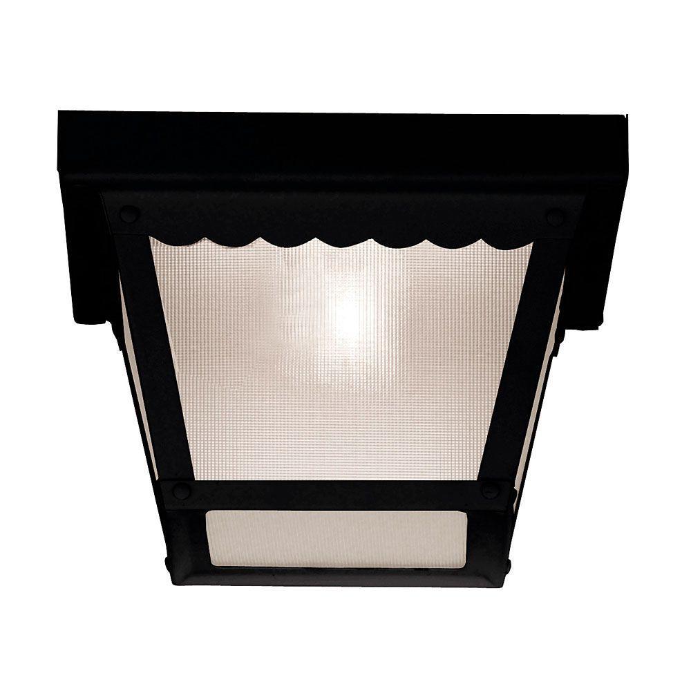 1-Light Black Frosted Glass Flush Mount