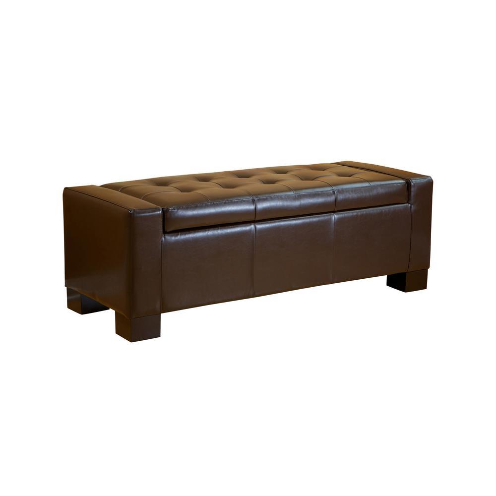 Guernsey Brown Large Storage Ottoman Bench