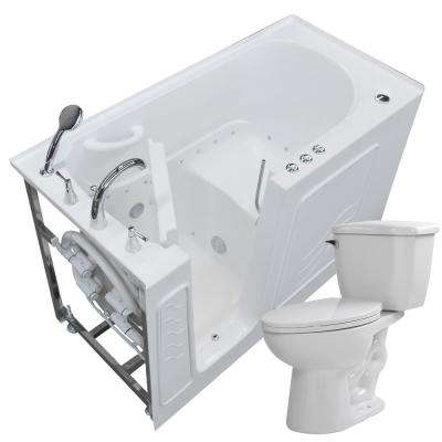 60 in. Walk-In Air Bath Tub in White with 1.28 GPF Single Flush Toilet