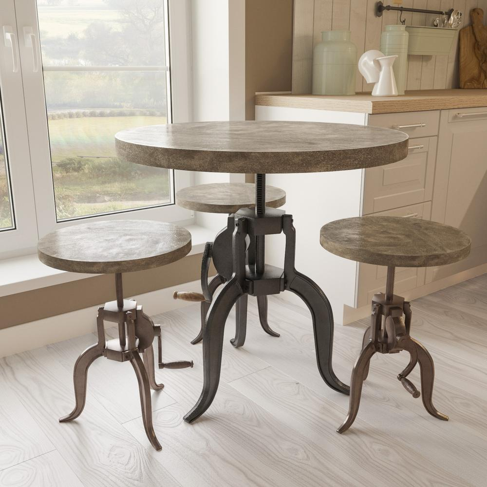 Yosemite Home Decor Adjule Height Iron Bar Stool