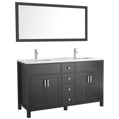 Amaya 60 in. Double Vanity in Espresso with Marble Vanity Top in Carrara White with White Ceramic Basins and Mirror