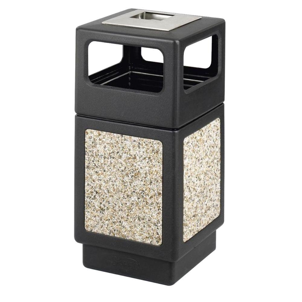 Evos 15 Gal. Outdoor Ashtray and Stone Waste Receptacle, Black