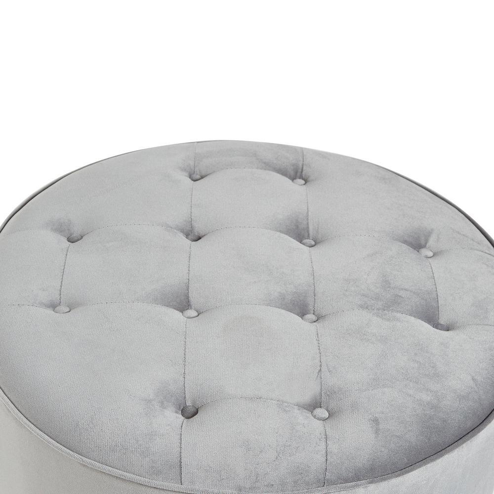 Astounding Collette Grey Tufted Large Round Ottoman Short Links Chair Design For Home Short Linksinfo