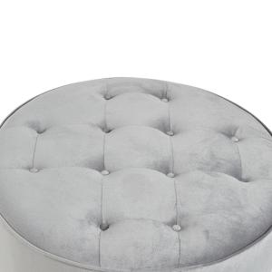 Pleasing Collette Grey Tufted Large Round Ottoman Short Links Chair Design For Home Short Linksinfo
