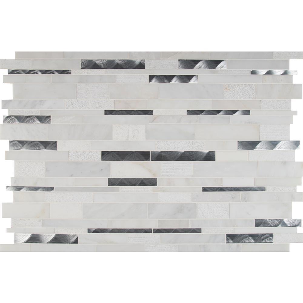 Moderno Blanco Interlocking 12 in. x 18 in. x 8 mm Metal Stone Blend Mesh-Mounted Mosaic Tile (15 sq. ft. / case)