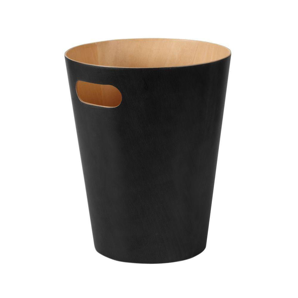 Woodrow 2.25 gal. Wood Waste Basket, Black
