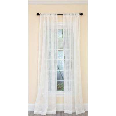 Isa Plaid Sheer Single Rod Pocket Curtain Panel in White - 52 in. x 120 in.