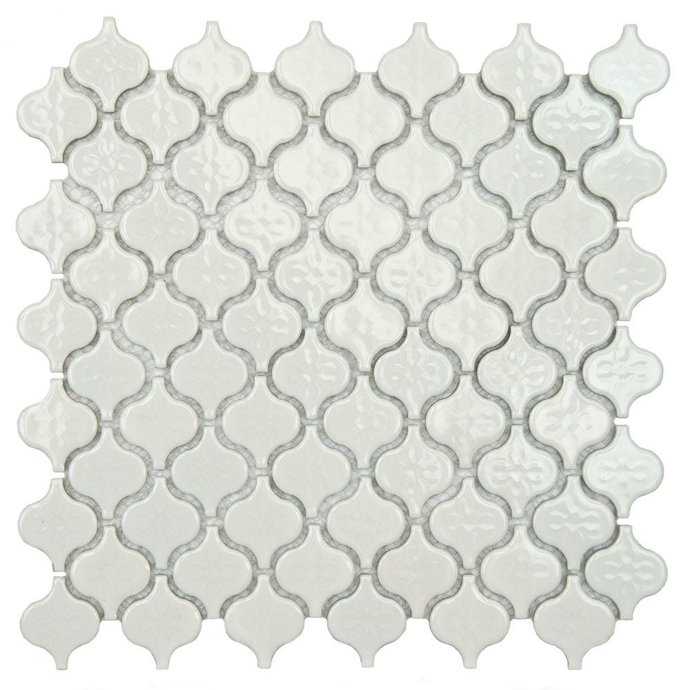 Merola Tile Lantern Mini Glossy White 10 3 4 In X 11 1 5 Mm Porcelain Mosaic Fxllatmw The Home Depot
