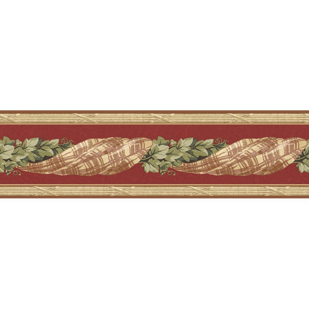 The Wallpaper Company 6.83 in. x 15 ft. Red Earth Tone Plaid Swag with Ivy Border
