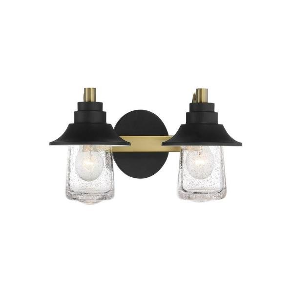 Westfield Manor 2-Light Sand Coal with Soft Brass Vanity Light