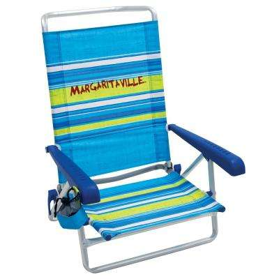 Classic Plastic 5-Position Lay Flat Lawn Chair with Arms