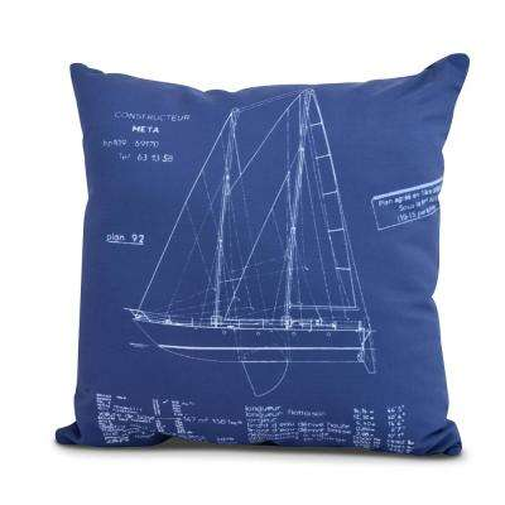 Sail Plan 18 in. Blue Decorative Nautical Throw Pillow