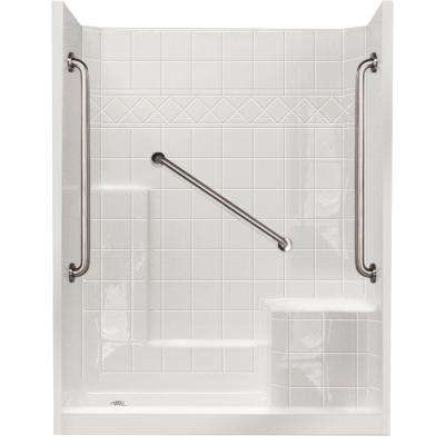 32 in. x 60 in. x 77 in. Standard Plus 36 Low Threshold 3-Piece Shower Kit in White with Right Seat and Left Drain