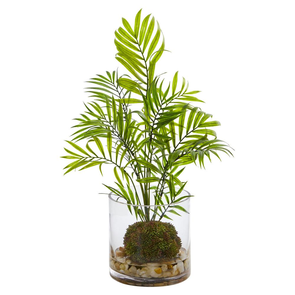 Nearly Natural Indoor Mini Areca Palm Artificial Plant In Vase 8188