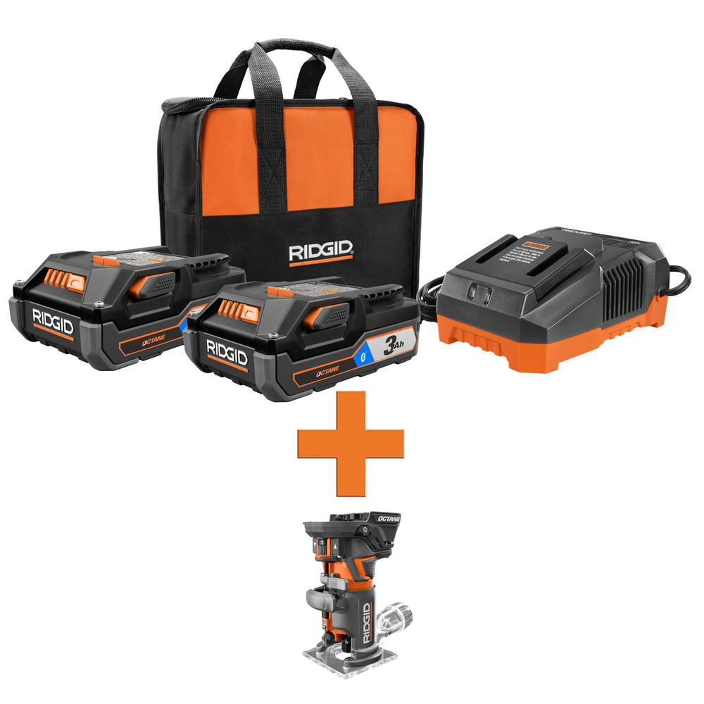 RIDGID 18-Volt OCTANE Lithium-Ion (2) 3.0 Ah Batteries and Charger Kit w/Free OCTANE Brushless Compact Fixed Base Router was $328.0 now $219.0 (33.0% off)