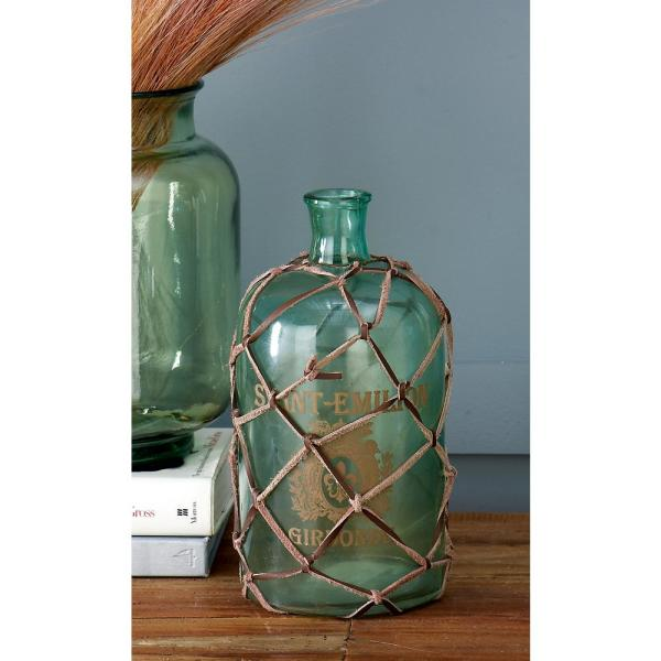 10 in.  Clear Glass Decorative Bottle Vase with Leather Netting