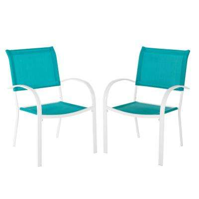 Mix and Match White Stackable Sling Outdoor Dining Chair in Emerald Coast (2-Pack)