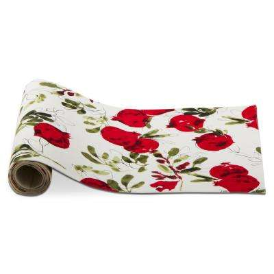 Red, Green and White Botanical Cotton Table Runner