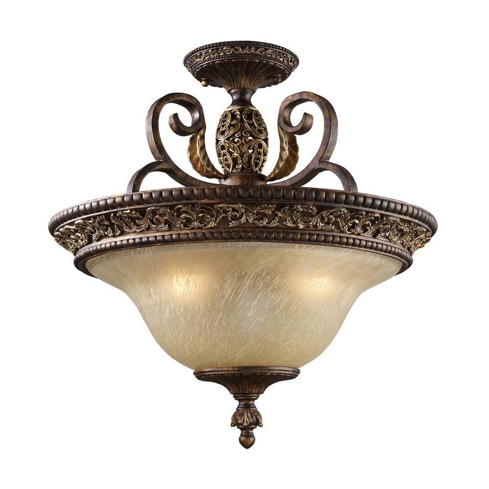 Regency 3-Light Burnt Bronze Ceiling Semi-Flush Mount Light