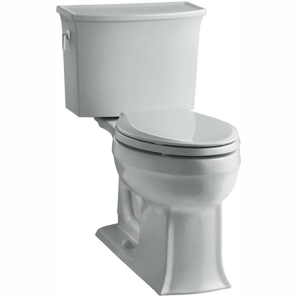 KOHLER Archer Comfort Height 2-Piece 1.28 GPF Single Flush Elongated Toilet with AquaPiston Flushing Technology in Ice Grey