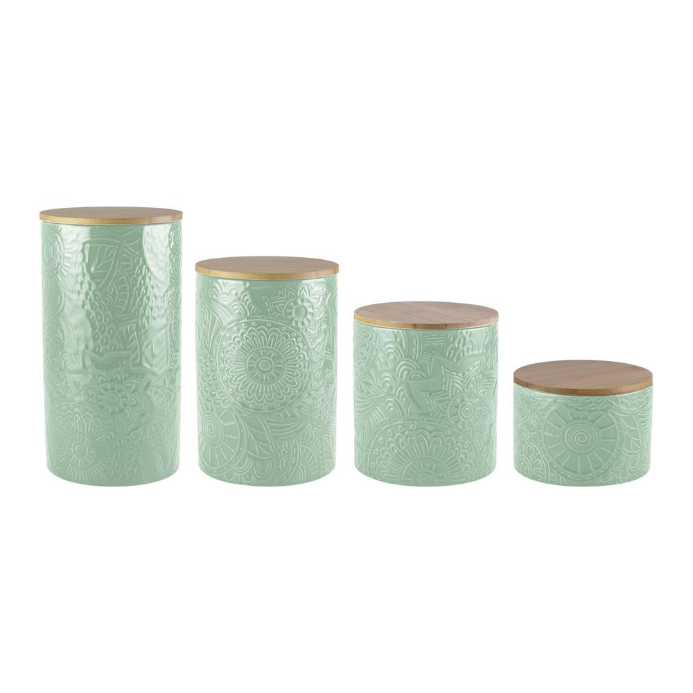 4-Piece Embossed Sage Stoneware Canister Set with Wood Lid