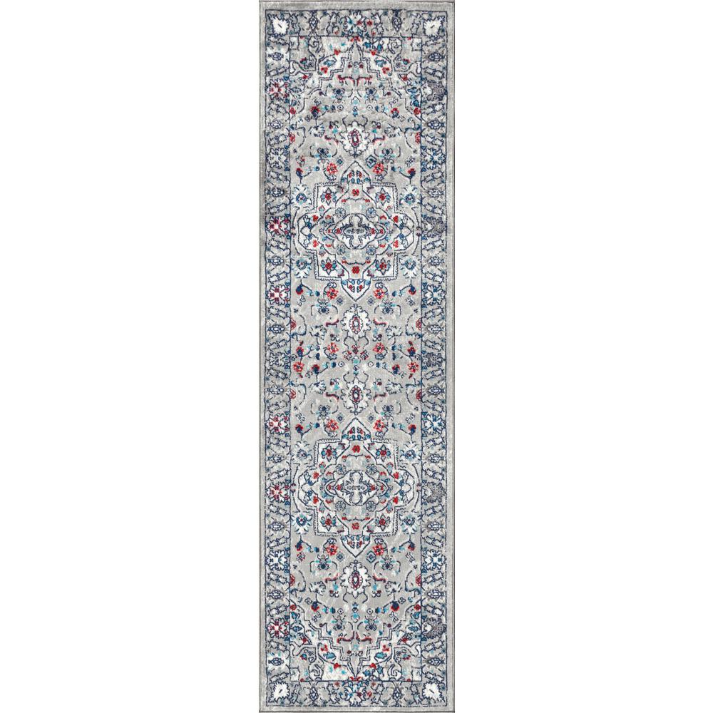 Modern Persian Vintage Medallion Light Grey/ Multi 2 ft. x 8 ft. Runner Rug