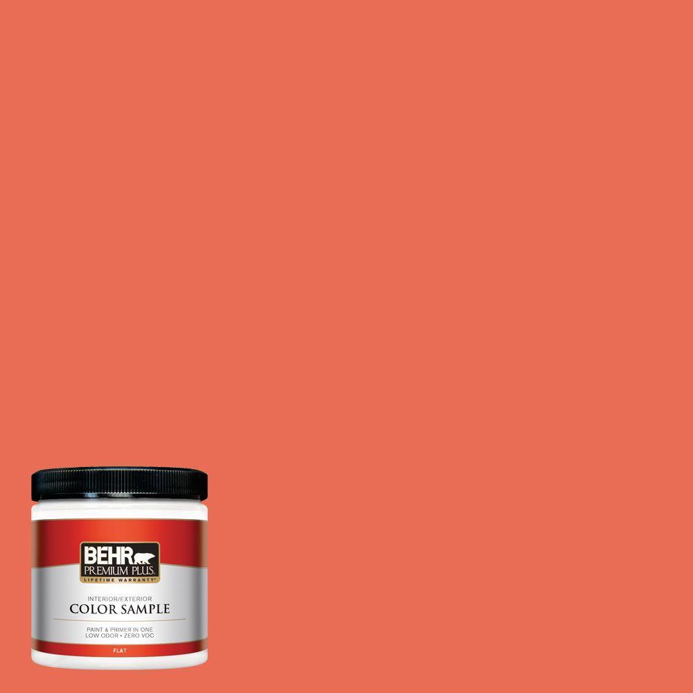 BEHR Premium Plus 8 oz. #190B-6 Wet Coral Flat Zero VOC Interior/Exterior Paint and Primer in One Sample