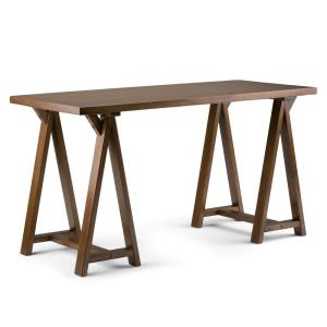 56 in. Rectangular Medium Saddle Brown Writing Desk with Solid Wood Material