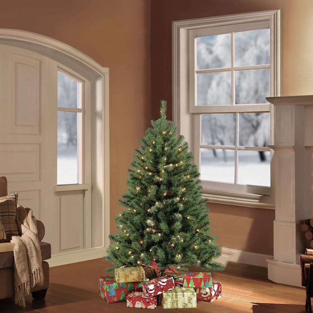 Artificial 4 Foot Christmas Trees: Puleo 4.5 Ft. Pre-Lit Northern Fir Artificial Christmas