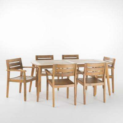 Darius 7-Piece Teak Acacia Wood Rectangular Outdoor Dining Set