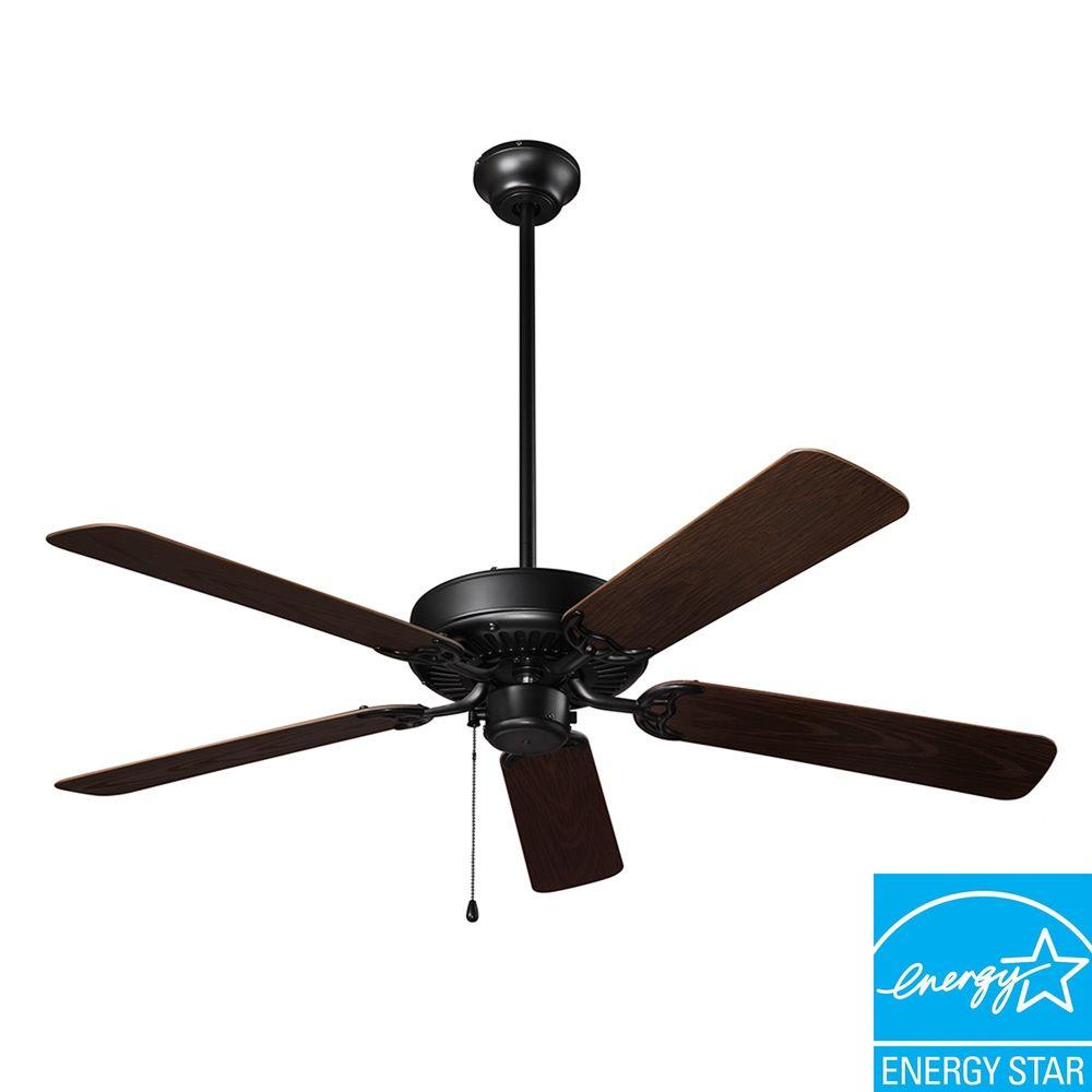 NuTone Wet Rated Series 52 in. Outdoor Barbecue Black Ceiling Fan