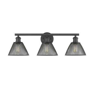 Carver 3-Light Black with Mesh Shades Bath Vanity Light