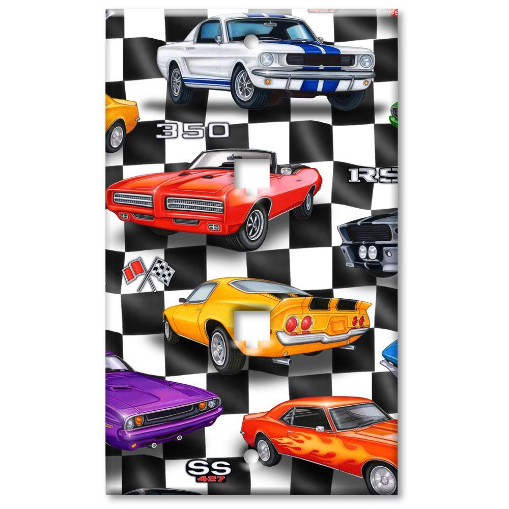 Art Plates Muscle Cars 2 Phone Jack Switch Plate