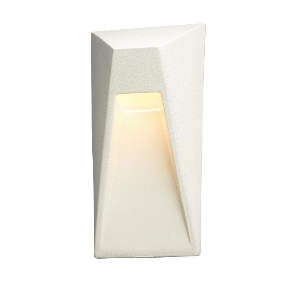 Justice Design Ambiance Vertice White Crackle Outdoor Integrated LED Sconce