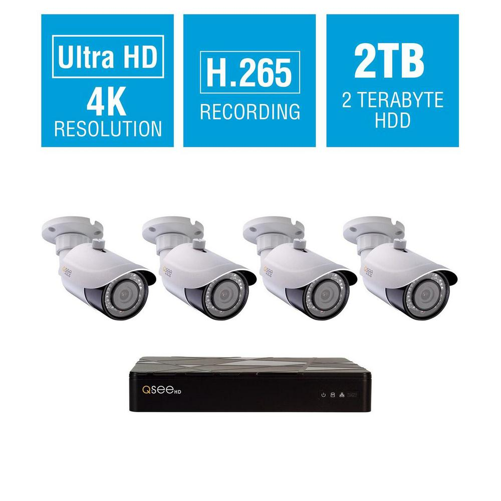 8-Channel 4K 2TB H.265 NVR Security Surveillance System with (4) 8MP