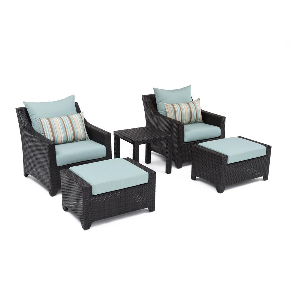 RST Brands Deco 5-Piece Patio Chat Set with Bliss Blue Cushions