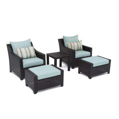 Deco 5-Piece Patio Chat Set with Bliss Blue Cushions