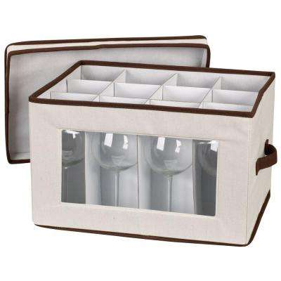 Stemware Storage Chest/Balloon Canvas with Trim