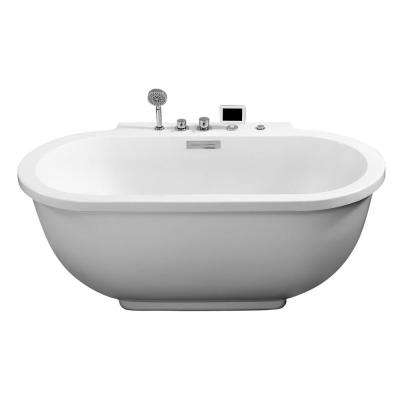 70.1 in. Center Drain Oval Apron Front Whirlpool Bathtub in White