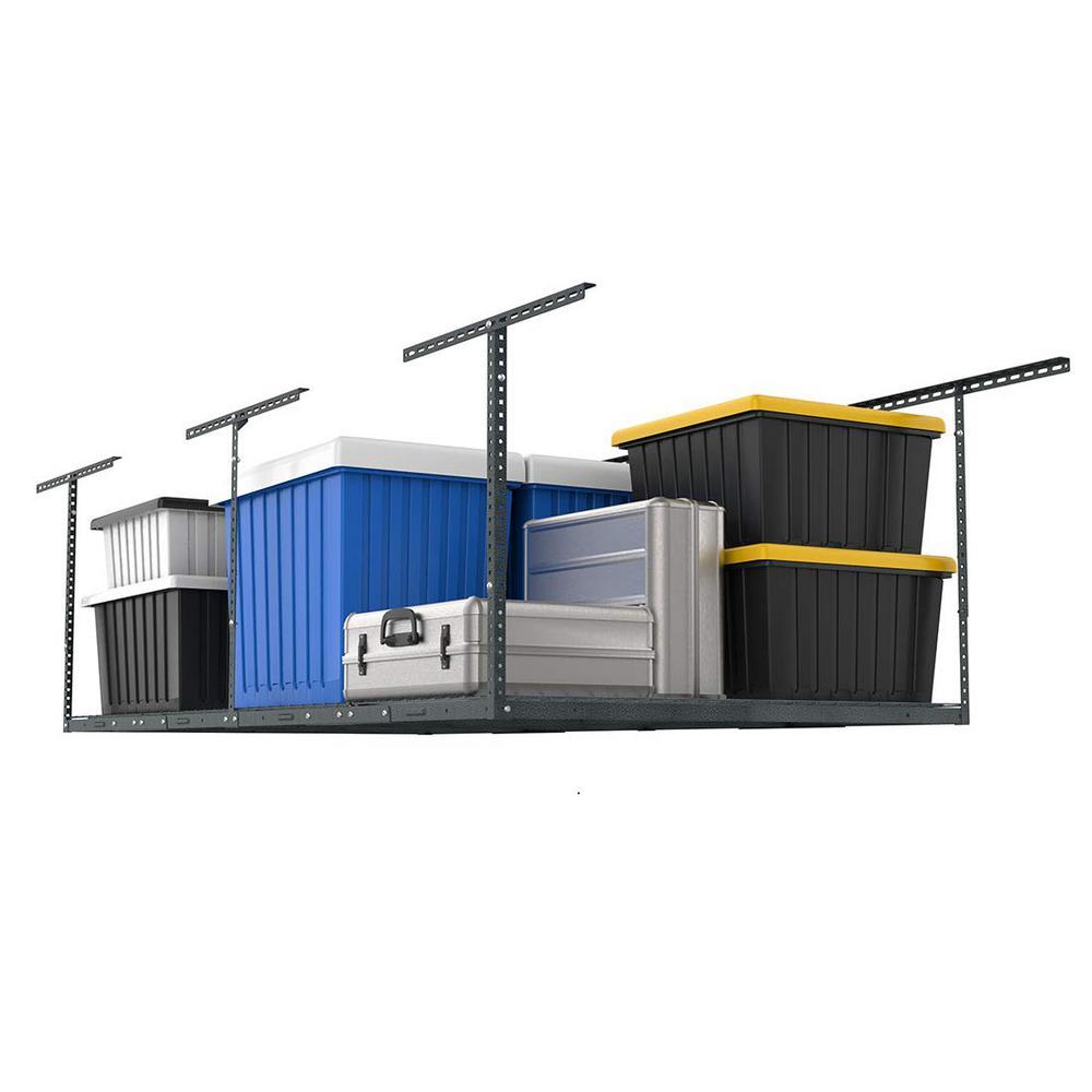 4 ft. x 8 ft. Heavy Duty Overhead Garage Adjustable Ceiling Storage Rack in Hammertone Gray