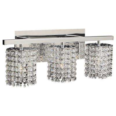 3-Light Polished Chrome Bath Vanity Light with Clear Glass