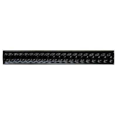 Trenza Negra Moldura 1 in. x 7-7/8 in. Ceramic Rope Pencil Wall Trim Tile