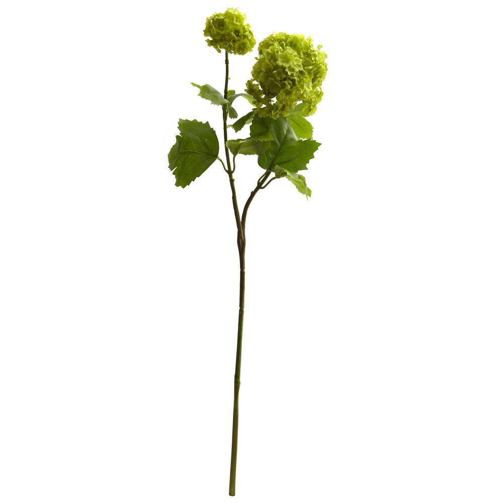Indoor 18 in. Snowball Hydrangea Artificial Flower (Set of 6)