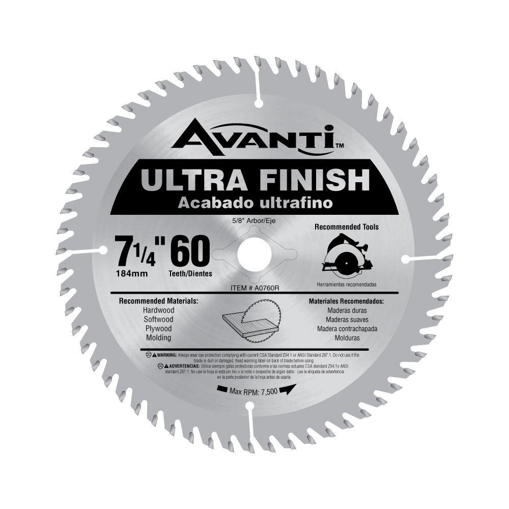 Avanti 7-1/4 in. x 60-Teeth Fine Finish Saw Blade-A0760R - The Home ...