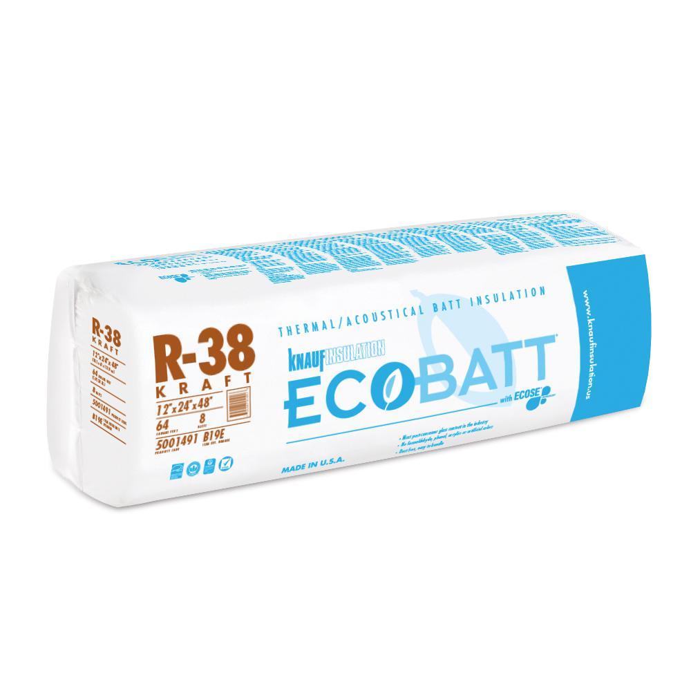 R-38 EcoBatt Kraft Faced Fiberglass Insulation Batt 12 in. x 24 in. x 48 in.