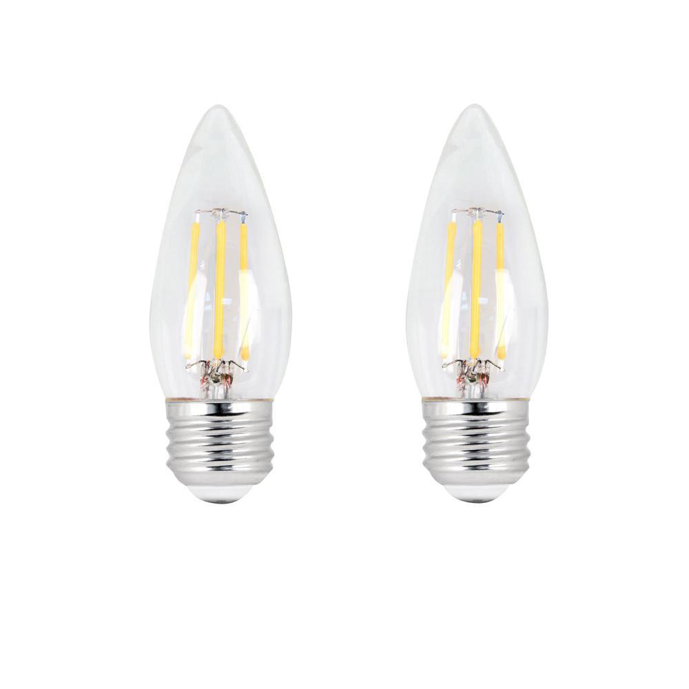 60-Watt Equivalent B10 Dimmable Filament CEC Title 20 LED ENERGY STAR 90+ CRI Clear Glass Light Bulb, Daylight (2-Pack)