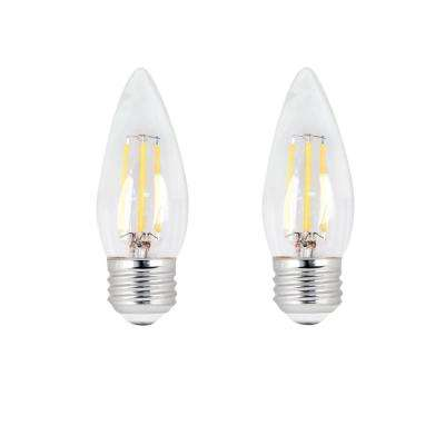 60W Equivalent B10 Candelabra Dimmable Filament CEC Title 20 Clear Glass Chandelier LED Light Bulb, Daylight (2-Pack)