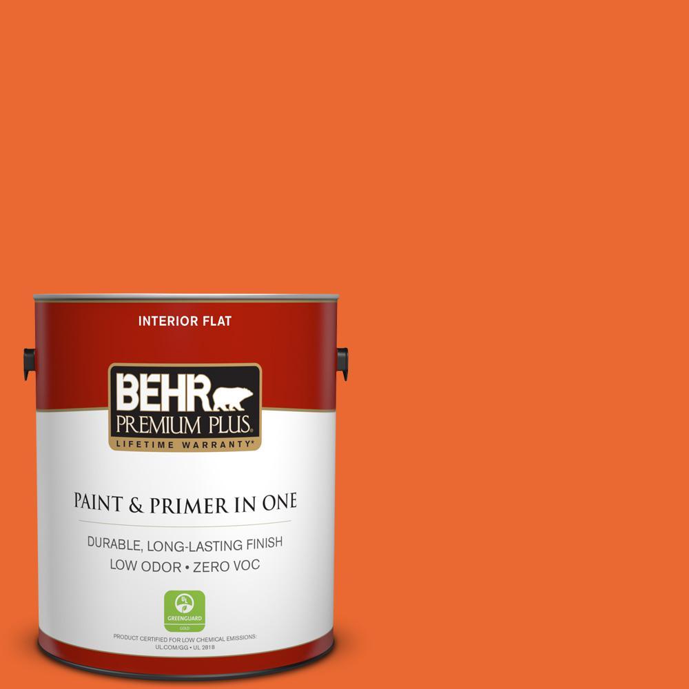 BEHR Premium Plus 1-gal. #220B-7 Electric Orange Zero VOC Flat Interior Paint