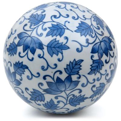 Oriental Furniture 6 in. Decorative Porcelain Ball - White with Blue Leaves