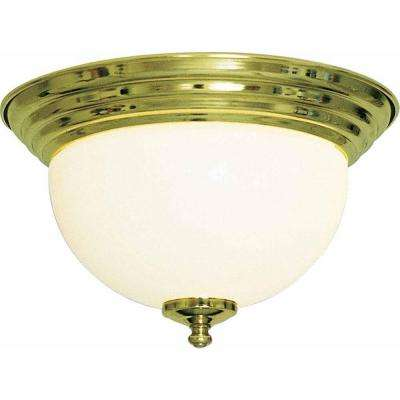 1-Light Polished Brass Flushmount